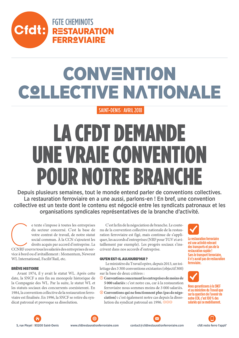 Publications actualit s cfdt restauration ferroviaire for Convention restauration collective